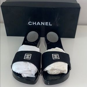 Like New Black Chanel Mules Size 12